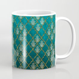 Vintage green faux gold glitter quatrefoil Hamsa Coffee Mug