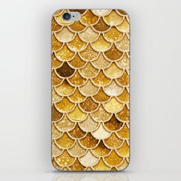 Gold Trendy Glitter Mermaid Scales iPhone Skin