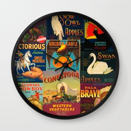 Vintage Fruit and Vegetable Crate Labels Wall Clock