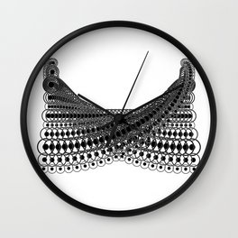 Geometric Lace in Black on White Wall Clock