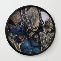 spawn Wall Clocks featuring blue Spawn by Sofia Mansilla