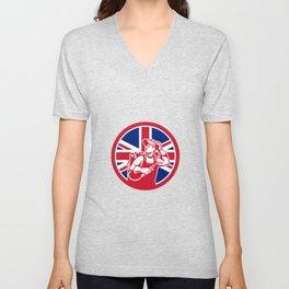 British Lit Operator Union Jack Flag Icon Unisex V-Neck