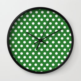 Green Dot Pattern Wall Clock