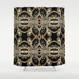 art deco jewelry bohemian champagne gold black rhinestone Shower Curtain