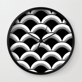 Japanese Fan Pattern Black and White Wall Clock