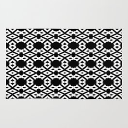 Repeating Circles Black and White Rug