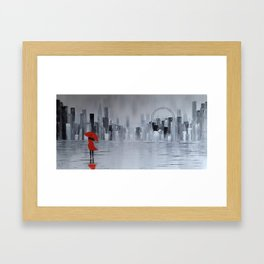 Lady in Red in Louboutine Shoes Walking Through London Framed Art Print