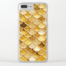 Gold Trendy Glitter Mermaid Scales Clear iPhone Case