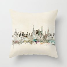 chicago city skyline Throw Pillow