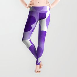 Aubergine Bubbles: Abstract purple watercolor painting Leggings