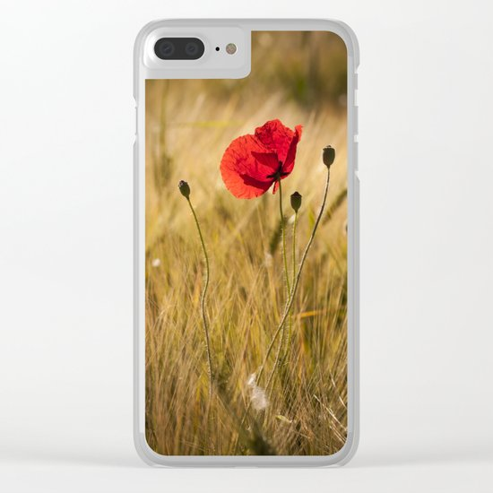Poppies in a summerfield - Flowers Floral on #Society6 Clear iPhone Case