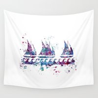 boats Wall Tapestries featuring Little boats by Watercolorist