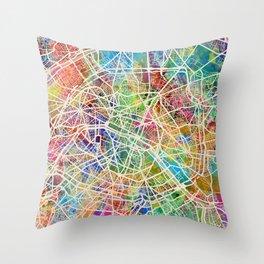 Paris France Street Map Throw Pillow