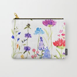 colorful wild flowers watercolor painting Carry-All Pouch