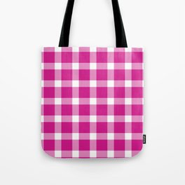 Plaid Hot Pink Tote Bag