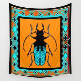 Black Turquoise Stag horn Beetle Western Art Abstract Wall Tapestry