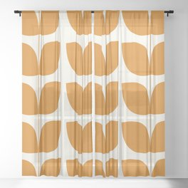 Mid Century Modern Leaves Orange Sheer Curtain
