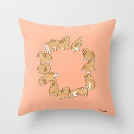 12 lop rabbits Throw Pillow