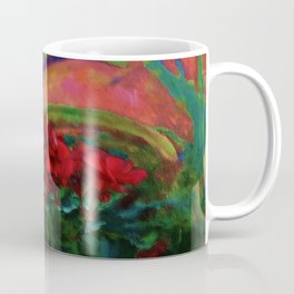 RED GERANIUMS GREEN SUCCULENT PAINTING Coffee Mug