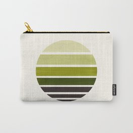 Olive Green Mid Century Modern Minimalist Circle Round Photo Staggered Sunset Geometric Stripe Desig Carry-All Pouch