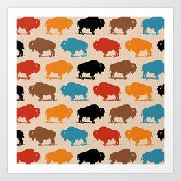 Colorful Buffalo Bison Pattern 278 Art Print