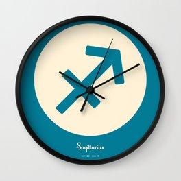 Sagittarius Symbol Blue Wall Clock