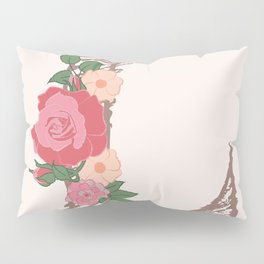 "Rose Gold Floral Letter ""L"" Pillow Sham"