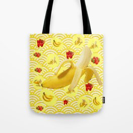YELLOW BANANAS & STRAWBERRIES ABSTRACT PATTERN Tote Bag