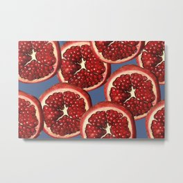 Pomegranate pattern Illustration Slices - blue Metal Print
