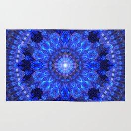 Azure Shield Mandala Rug