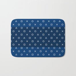 Gamepad Symbols Pattern - Navy Blue Bath Mat