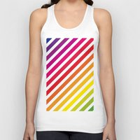 striped Tank Tops featuring Striped Rainbow by Stephanie Keyes Design