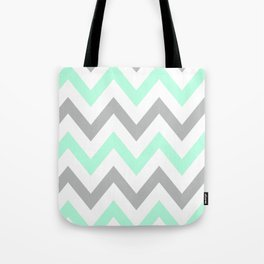 MINT & GRAY CHEVRON Tote Bag
