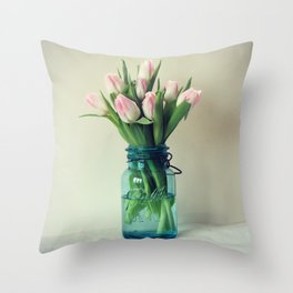 Mason Jar Spring Tulips Throw Pillow