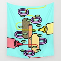 hot dog Wall Tapestries featuring Hot dog by Jan Luzar