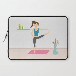 Yoga Girl In Extended Hand To Toe Pose Cartoon Illustration Laptop Sleeve