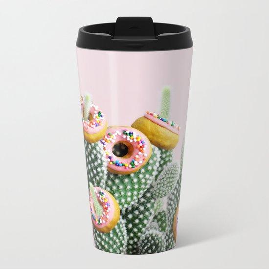 Donut Cactus In Bloom Metal Travel Mug
