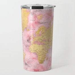 Gold and pink marble world map Travel Mug
