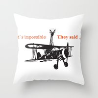 ostrich Throw Pillows featuring OSTRICH by VINSPIRO