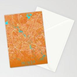 Minsk, Belarus, Gold, Blue, City, Map Stationery Cards