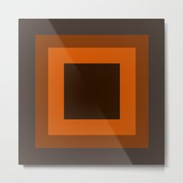 Dark Orange Square Design Metal Print