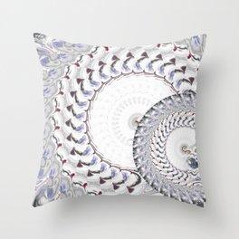 Geometric - Fractal Nautius Scared Geometry Blue White Throw Pillow
