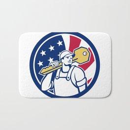 American Locksmith USA Flag Icon Bath Mat