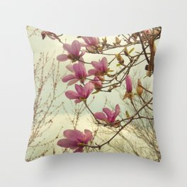Spring Botanical Chinese Magnolia, Magnolia × soulangeana tree in flower Throw Pillow