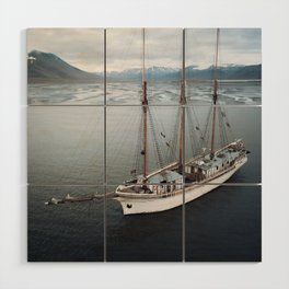 Sailing Ship in front of a Mountain Valley in Norway Wood Wall Art