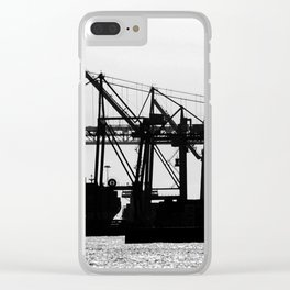 Metallic Architectures Docked Cargo Ships Clear iPhone Case