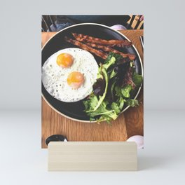 Bacon, Eggs, and Greens on a Plate Mini Art Print