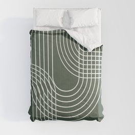 Minimalist Lines & Forest Green BG Comforters