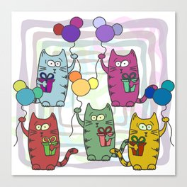 Funny colorful cats with gifts and inflatable balls in their paws Canvas Print
