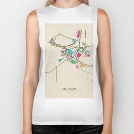 Colorful City Maps: Abu Dhabi, United Arab Emirates Biker Tank